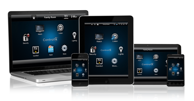 control4 home automation on iPad, iPhone and computer devices